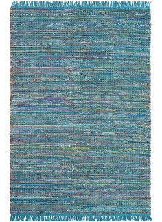 Tapis colore a franges PLAYA bleu de la collection Brink and Campman