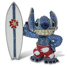 Disney Parks Surfin' Stitch Jeweled Figurine by Arribas Brothers New with Box