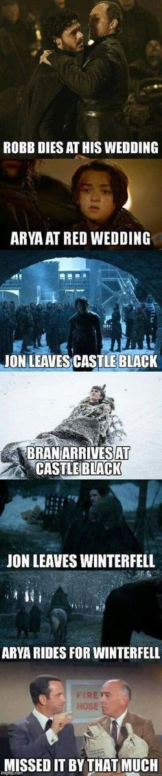 SPOILERS: Starks - they just keep missing each other! Game of Thrones.