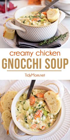 Chicken Gnocchi Soup is packed with chicken, potato gnocchi, and spinach bathing in a thick and creamy broth. A bowl of this hearty, chicken dumpling-like soup isn't required, but it's absolutely recommended. Printable recipe and video at TidyMom.net #gnocchisoup #rotisseriechicken #quickdinner #soup #gnocchi #comfortfood #chickendinner #recipe