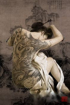 Oriental woman Artwork by Hailin Fu www.facebook.com/... Instagram:@Hailin Tattoo