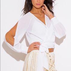 Wrap Front Crop Blouse Top Chiffon Slit Blouson Sleeve Wrap Front Blouse Top 100% Polyeter Made in USA  Color: White Kiss Mila Tops Blouses