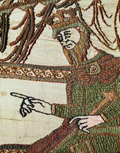 On the 3rd April 1043, Edward the Confessor was crowned King of England at Winchester Cathedral. Detail from Bayeux Tapestry, France, 11th century.
