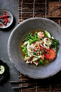 Seafood, vegetables and asian noodles