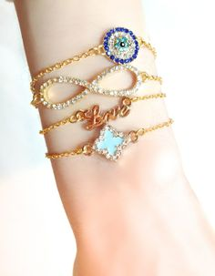 Delicate Jewelry | Clover, Evil Eye, Love, Infinity | Build Your Bracelet Now at LunaMarin.com