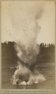 """Dawn's Early Light - Exhibition > Towards Modern Photography. Carleton E. Watkins. """"Clearing The Channel,"""" ca. 1882.  Albumen print, 7 ¾ x 4 ¾ in."""