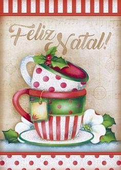 Litoarte Its Christmas Eve, Christmas Cup, Christmas Fabric, Tole Painting, Fabric Painting, Painting On Wood, Christmas Cards, Christmas Decorations, Christmas Ornaments