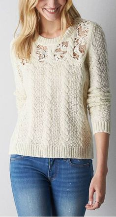 cable inset sweater
