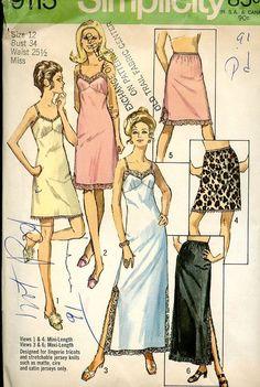70s Vintage Lingerie Full & Half Slip Pattern Bust 34 #vintage patterns #lingerie pattern #70s vintage pattern