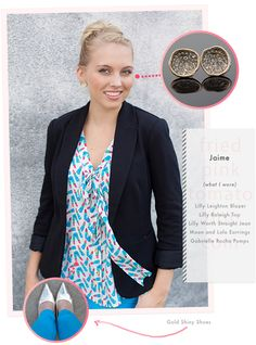 Lilly Pulitzer Outfit of the Day. Great for the Fall. Awesome Teal Pants. Cute black blazer.