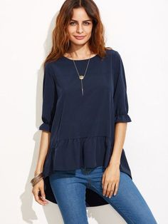 Navy Ruffle Sleeve High Low Tiered Peasant Top