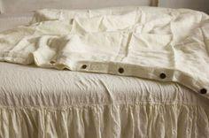 "Queen Linen DUVET COVER 90 x 90"" Antique white color FREE SHIPPING buttons #LenOk #Contemporary"