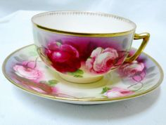 ROYAL-AUSTRIA-SIGNED-ROSES-ANTIQUE-TEA-CUP-AND-SAUCER