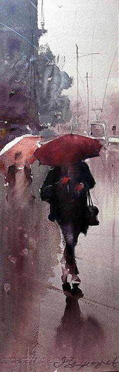 Cityscape Painting - Walk On The Rain by Dusan Djukaric