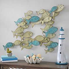 Blue and Yellow School of Fish Metal Wall Plaque