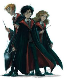 Harry, Ron & Hermione (The back covers for the UK editions of Harry Potter children's book series; art by John Duddle)