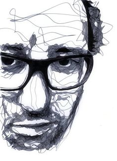 Drawing by Kris Trappeniers. This artist intrigues me because of his unconventional way of drawing portraits. Kris Trappeniers, Line Drawing, Painting & Drawing, A Level Art, Black And White Drawing, Abstract Drawings, Drawing Techniques, Teaching Art, Face Art