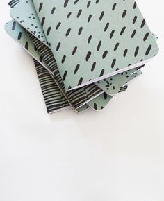 Pale Blue Patterned Notebooks — Cotton & Flax