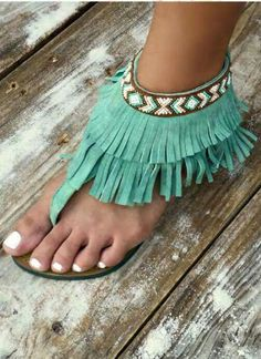"""""""Fringe with Benefits"""" Sandals -Teal Cowgirl Style, Cowgirl Boots, Western Style, Walk In My Shoes, New Shoes, Cute Shoes, Me Too Shoes, Shoe Boots, Shoes Heels"""
