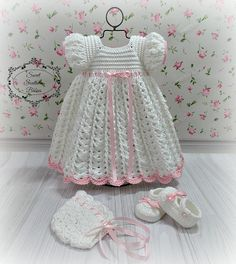 Baby Girl's White Dress with Shoes and Bonnet  Baptism