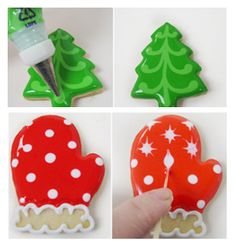 Some decorating ideas for holiday cookies.