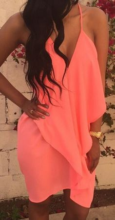 Love this Color! Sexy Bright Coral Backless Solid Color Flounce Splicing Asymmetrical Women's Dress #Sexy #Coral #Summer #Dress #Fashion