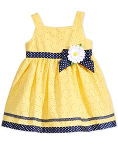 Another great find on Youngland Yellow & Navy Daisy Dress - Infant, Toddler & Girls by Youngland Frocks For Girls, Little Dresses, Little Girl Dresses, Girls Dresses, Flowery Dresses, Baby Frocks Designs, Kids Frocks Design, Toddler Dress, Infant Toddler