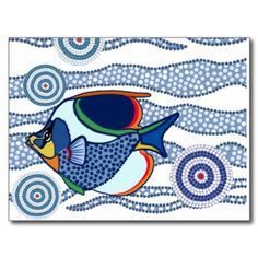 Aboriginal dot art tropical fish mostly in blues. All artwork is copyright Jean Hall . Aboriginal Dot Painting, Aboriginal Tattoo, Kunst Der Aborigines, Red Fish Blue Fish, Underwater Art, Zen Doodle, Fish Art, Art Plastique, Tropical Fish