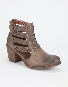 16358368e4e Roxy Lena heeled booties. Faux suede upper with strappy cut out panels at  sides.