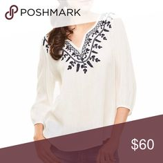 Cream and Black Beautiful Embroidered Blouse This gorgeous, semi-sheer blouse is comfortable to wear, with a relaxed, drapey fit and easily goes from daytime to date night. Slight high low hem, 3/4 sleeves. True to size.   ❌ Sorry, no trades. fairlygirly Tops Blouses