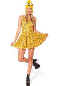 Yellow Casual Sleeveless Printed Skater Dress