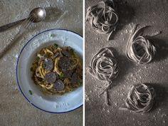 Fettuccine mit Portobello, Stein & schwarzem Trüffel