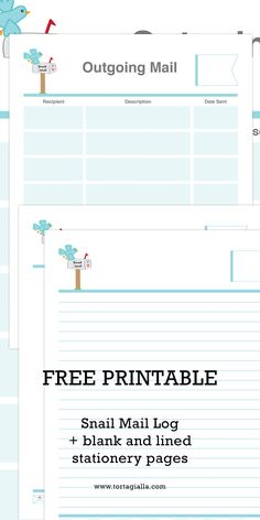 Free Printable Snail Mail Log and Stationery