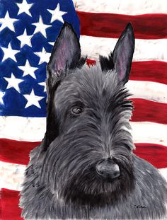 USA American Flag with Scottish Terrier Flag Garden Size