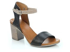 EOS Footwear 'Star' in Black/Taupe - Block heeled sandal with two tone strap. Also available in Blood Orange/Taupe, Brandy/White, Champagne/White, Navy/White, Taupe/White and White/Taupe. Winter Shoes For Women, Blood Orange, Italian Leather, Navy And White, Eos, Block Heels, Taupe, Champagne, Footwear