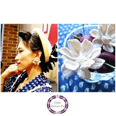 """I named this flower """"よきひYokihi."""" All hand crocheted and firmly starched. I was inspired by the lotus flower, which I adore. I love jewelries which make you feel that you are special. I wish this flower will be one of those fabulous things for you smile emoticon このお花は「よきひ」と名付けました。全て手編みから糊付けまで行っています。 私の大好きな蓮の花から連想して作りました。私は、何か自分が特別な存在であるという気分にさせてくれる装飾品が大好きです。この「よきひ」が、あなたにとってそんな素敵なものになりますように。 by望Nozomy"""
