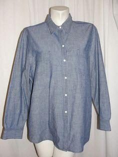 Lands End Women's Top Baumwolle Cotton Blue LS TUNIC Button Front Shirt Sz 20W #LandsEnd #ButtonDown #WeartoWorkCasual