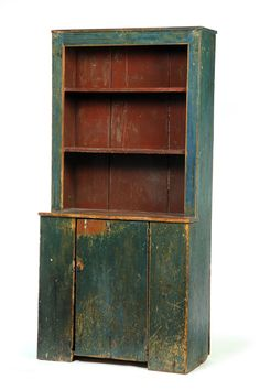 NEW ENGLAND OPEN-TOP CUPBOARD. One-piece with open shelves in top and a single-board door below. Old blue-green paint on the exterior and reddish-brown on the interior. Primitive Furniture, Country Furniture, White Furniture, Painted Furniture, Shaker Furniture, Retro Furniture, Antique Furniture, Furniture Design, Cupboard Shelves