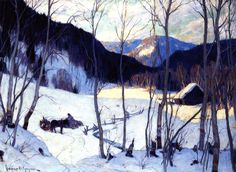The Clearing In The Woods Artwork By Clarence Gagnon Oil Painting & Art Prints On Canvas For Sale Canadian Painters, Canadian Artists, Clarence Gagnon, Wood Artwork, Of Montreal, Winter Art, Winter Trees, Art Prints For Sale, Impressionism Art