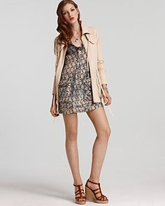 Oonagh by Nanette Lepore Mickey French Terry Anorak Jacket and Gene Silk Pocket Printed Dress