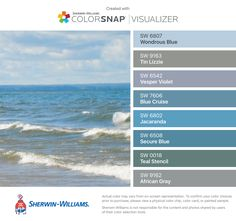 I found these colors with ColorSnap® Visualizer for iPhone by Sherwin-Williams: Wondrous Blue (SW 6807), Tin Lizzie (SW 9163), Vesper Violet (SW 6542), Blue Cruise (SW 7606), Jacaranda (SW 6802), Secure Blue (SW 6508), Teal Stencil (SW 0018), African Gray (SW 9162).