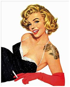 Marilyn Monroe Tattoo Smoking - the Queen of Pin Up Glam.