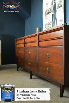 Primitive and Proper, http://primitiveandproper.com/ brought this dresser back to life with a little Java Gel Stain from General Finishes. Simple, classic, perfect! #generalfinishes #javagel #diy