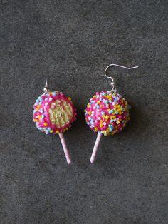 Boucle d'oreille sucette croquée en fimo #1 Argent 925 : Boucles d'oreille par jl-bijoux-creation