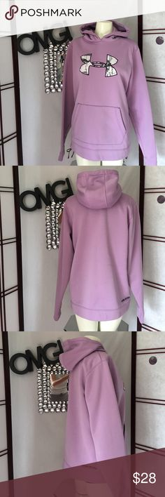 """UNDER ARMOUR HOODED PULLOVER Gorgeous, new condition! UA pullover. Color is a light purple with white & gray camo pattern on the UA emblem.  Measures 21"""" across the chest and 16.5"""" armpit to hem. Size large. No trading please! Thanks for looking! Under Armour Tops Sweatshirts & Hoodies"""