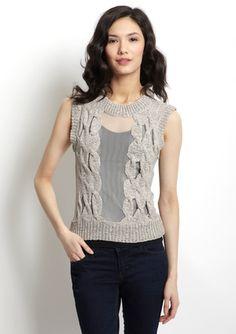 GRACIA Sleeveless Cable Sweater $49.99