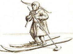 Sami with crossbow and skiis. Samisk jeger med armbrøst på ski 1674 by saamiblog, via Flickr