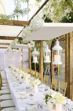 Enchanted Florist Las Vegas Wedding White Table Scape Hanging Flowers