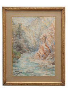 "Original vintage painting on sale at www.annahackathorn.com Size: 15.25"" W x 19.75"" H x 0.5"" D Beautiful detail and subtle layering of gorgeous color in this painting of a ruisseau or brook, by Marthe Reveille, a painter who traveled and settled in Algeria. Signed ""M. Reveille,"" lower left. Watercolor on paper."