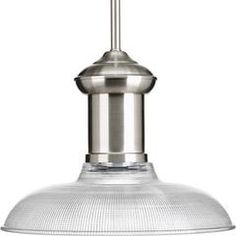 Brushed Nickel Brookside Pendant with Glass Shade by Progress Lighting P5181-09